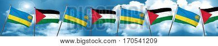 Rwanda flag with Palestine flag, 3D rendering
