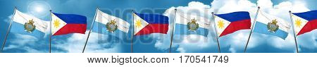 san marino flag with Philippines flag, 3D rendering