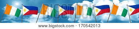 Ivory coast flag with Philippines flag, 3D rendering