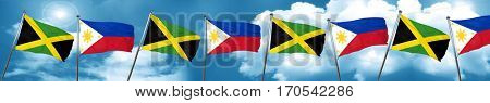 Jamaica flag with Philippines flag, 3D rendering