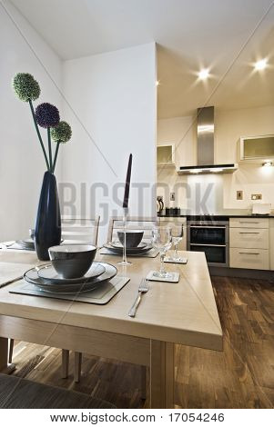 dining table setup and modern kitchen view