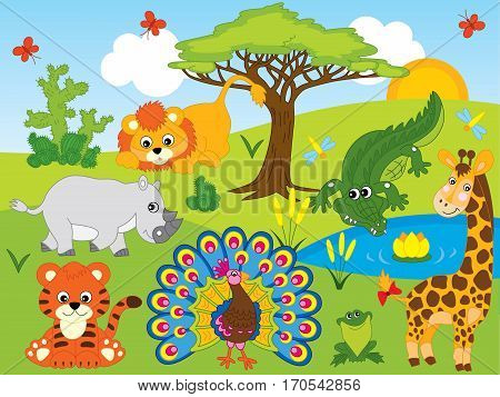 Vector cartoon african animals set with tiger, giraffe, lion, rhino, crocodile and peacock