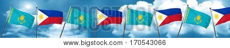 Kazakhstan flag with Philippines flag, 3D rendering