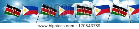Kenya flag with Philippines flag, 3D rendering