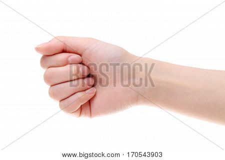 woman hand female fist closeup isolated on a white background