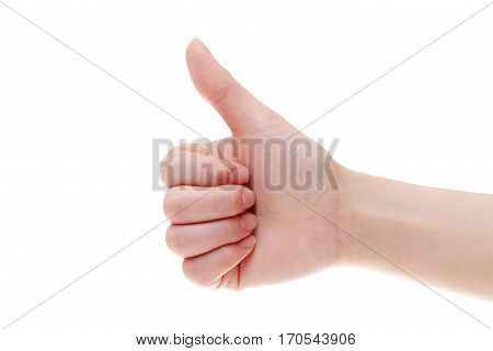 woman hand with thumb up isolated on white background