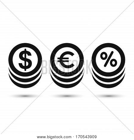 Coins icon dollar euro and percent coin symbol. Vector.