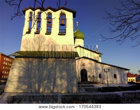 Church of the Epiphany from Zapskovje. Orthodox church in Pskov. Historical and cultural monument of federal importance XV-XVI centuries.
