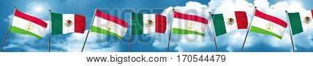 Tajikistan flag with Mexico flag, 3D rendering