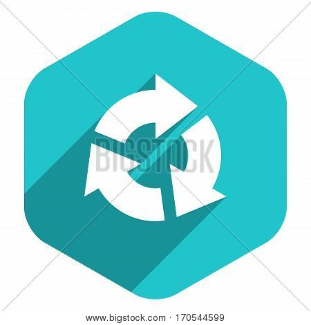 Use it in all your designs. Arrow sign reload, refresh, rotation, loop, repetition, reset icon in hexagon web internet button in flat long shadow style. Vector illustration a graphic design element
