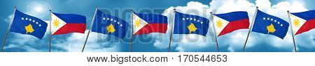 Kosovo flag with Philippines flag, 3D rendering
