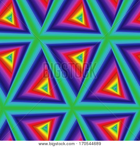 Seamless Pattern With Multicolor Triangle Forms