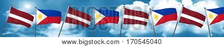 Latvia flag with Philippines flag, 3D rendering