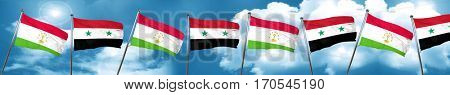 Tajikistan flag with Syria flag, 3D rendering