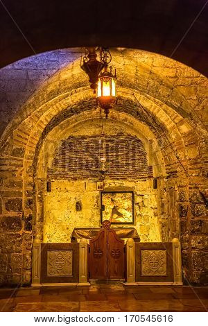 JERUSALEM, ISRAEL - MAY 24, 2016: Chapel of Adam important part of the Holy Sepulchre Church place of praying and peace.