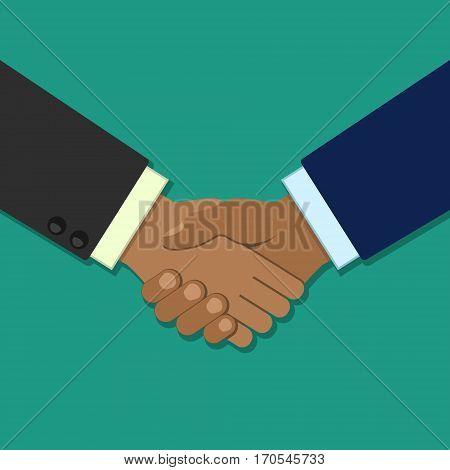 Shaking hands business vector illustration symbol of success deal partnership greeting shake handshaking agreement flat sign design isolated on background.