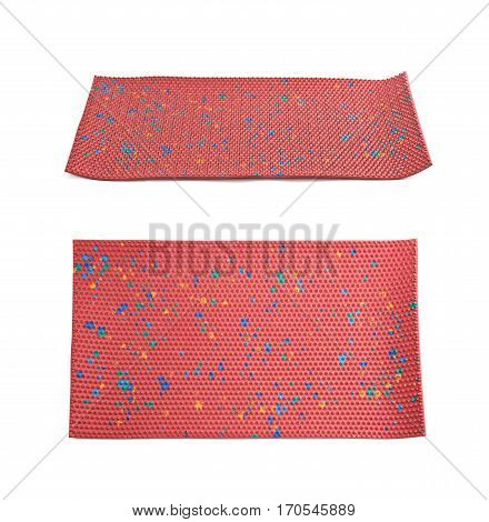 Orthopedic mat with spikes isolated over the white background poster