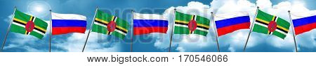 Dominica flag with Russia flag, 3D rendering
