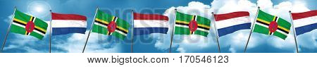 Dominica flag with Netherlands flag, 3D rendering
