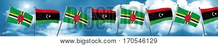 Dominica flag with Libya flag, 3D rendering