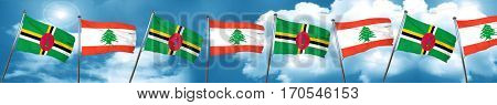 Dominica flag with Lebanon flag, 3D rendering