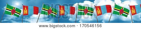 Dominica flag with Mongolia flag, 3D rendering