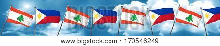 Lebanon flag with Philippines flag, 3D rendering