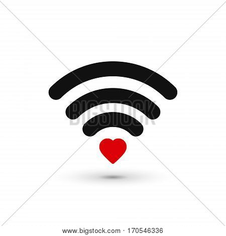 Heart wifi icon. Vector heart connect icon in flat style. Heart signal. Love connection signal.