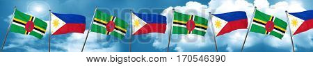 Dominica flag with Philippines flag, 3D rendering