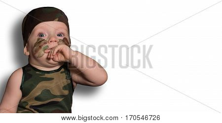 Baby Soldiers Isolated In Uniform With War Paint On His Face On A White Background. Boy In Uniform.