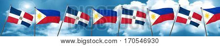dominican republic flag with Philippines flag, 3D rendering