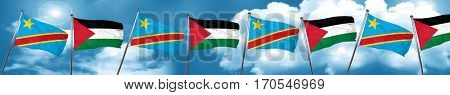Democratic republic of the congo flag with Palestine flag, 3D re