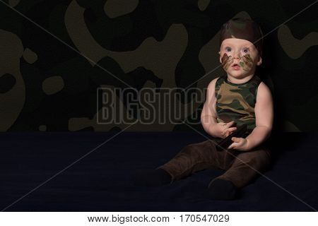 Baby Soldier In Uniform With War Paint On His Face. Boy In Uniform Against The Background Of Camoufl