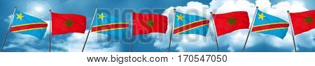 Democratic republic of the congo flag with Morocco flag, 3D rend