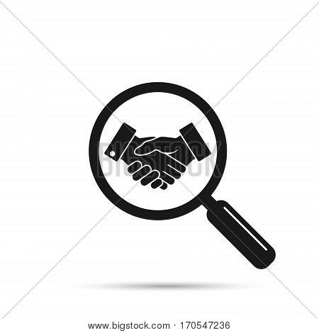 Search business partner friendship deal magnifier with handshake Vector business concept.