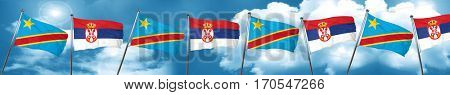 Democratic republic of the congo flag with Serbia flag, 3D rende