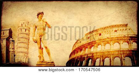 Grunge background with paper texture and landmarks of Italy - Leaning Tower of Pisa, Colosseum, Michelangelo's David