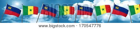 Liechtenstein flag with Senegal flag, 3D rendering