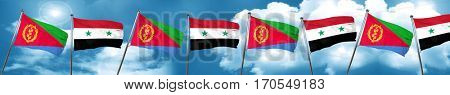 Eritrea flag with Syria flag, 3D rendering