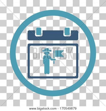 National Holiday Day rounded icon. Vector bicolor illustration style is a flat iconic symbol inside a circle cyan and blue colors transparent background. Designed for web and software interfaces.