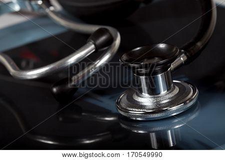 Macro shot of stethoscope on on x ray.