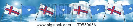 faroe islands flag with Somalia flag, 3D rendering