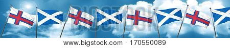 faroe islands flag with Scotland flag, 3D rendering