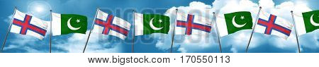 faroe islands flag with Pakistan flag, 3D rendering