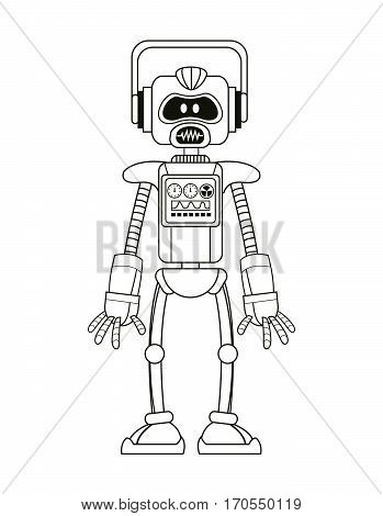 robot intelligence artificial thin line vector illustration eps 10