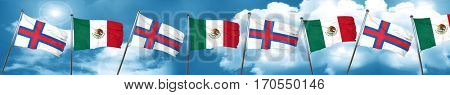faroe islands flag with Mexico flag, 3D rendering