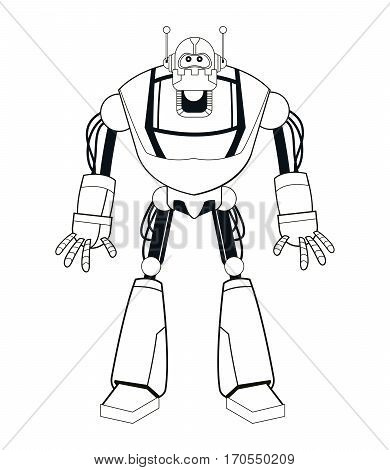 robot electric mechanical thin line vector illustration eps 10