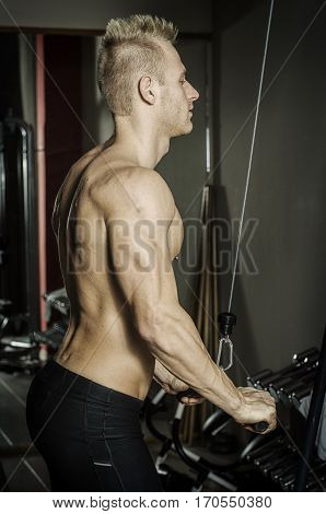 Young handsome man training triceps, shirtless on gym equipment, pulling handle on cables