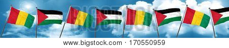 Guinea flag with Palestine flag, 3D rendering