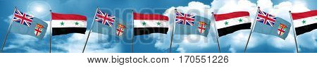 Fiji flag with Syria flag, 3D rendering